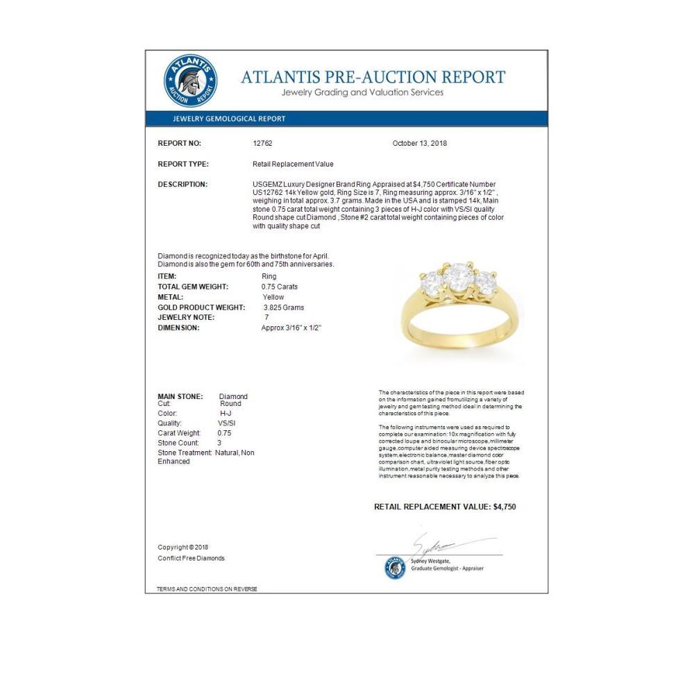 Lot 6528: 0.75 ctw VS/SI Diamond 3 Stone Ring 14K Yellow Gold - REF-108Y4X - SKU:12762