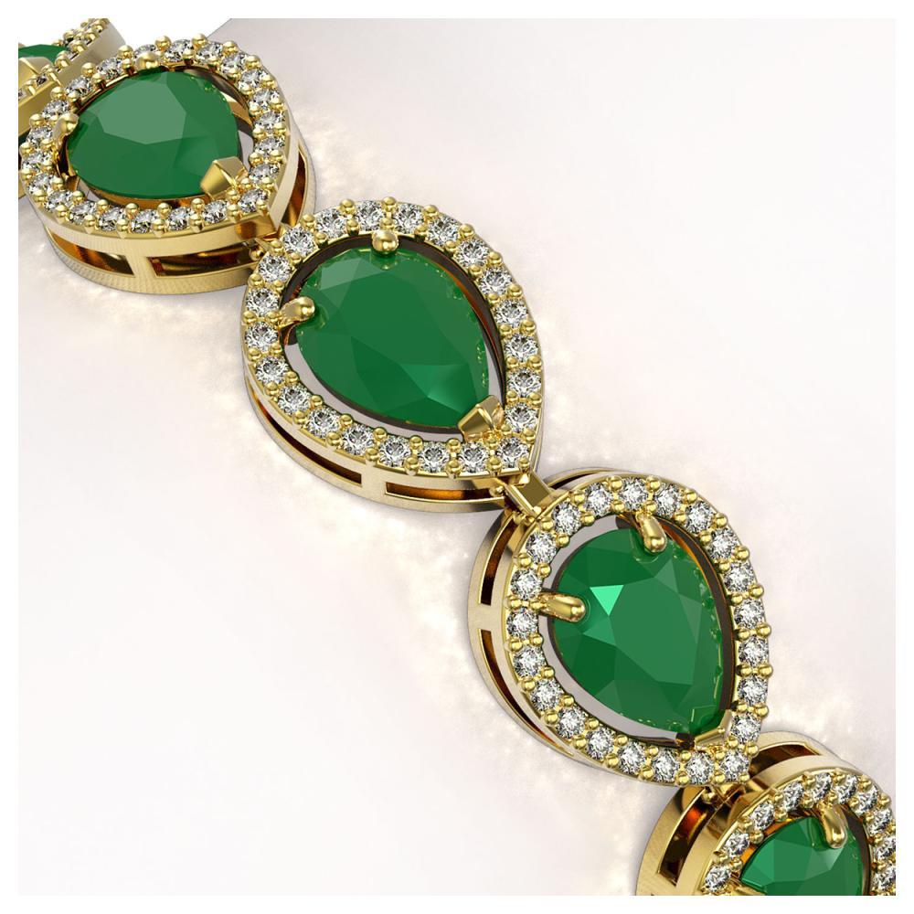 Lot 7011: 21.69 ctw Emerald & Diamond Halo Bracelet 10K Yellow Gold - REF-336R4K - SKU:41092