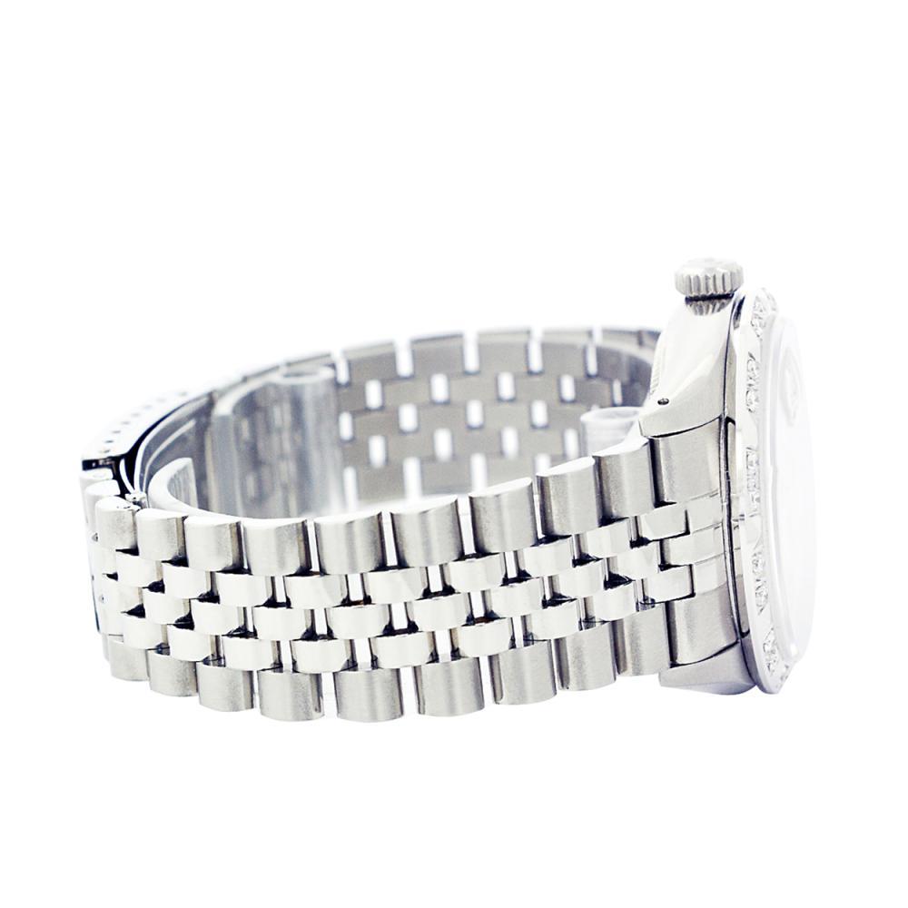 Lot 7002: Rolex Men's Stainless Steel, QuickSet, Arabic Dial with Pyrimid Diam Bezel - REF-509T6K