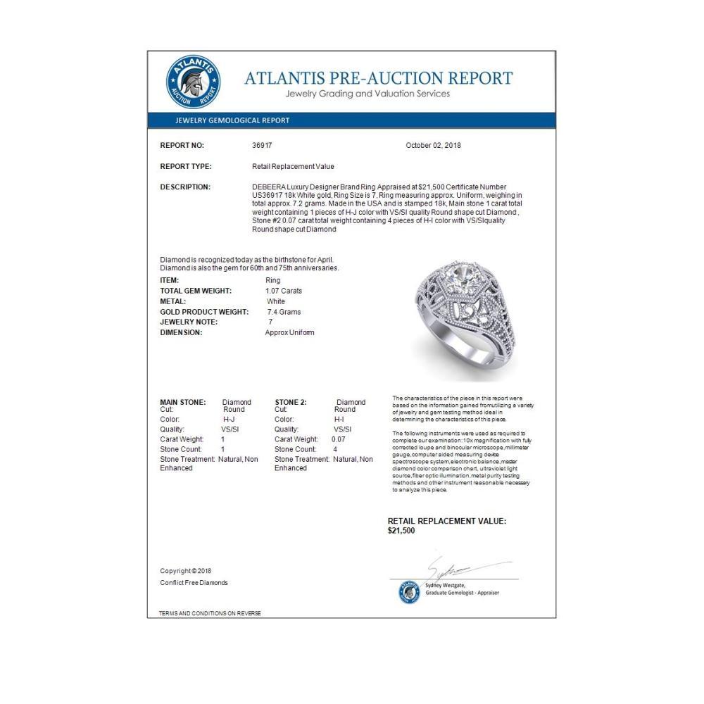 Lot 6564: 1.07 ctw VS/SI Diamond Art Deco Ring 18K White Gold - REF-322A5V - SKU:36917