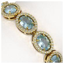 Lot 7040: 18.38 ctw Aquamarine & Diamond Halo Bracelet 10K Yellow Gold - REF-320X9R - SKU:40627