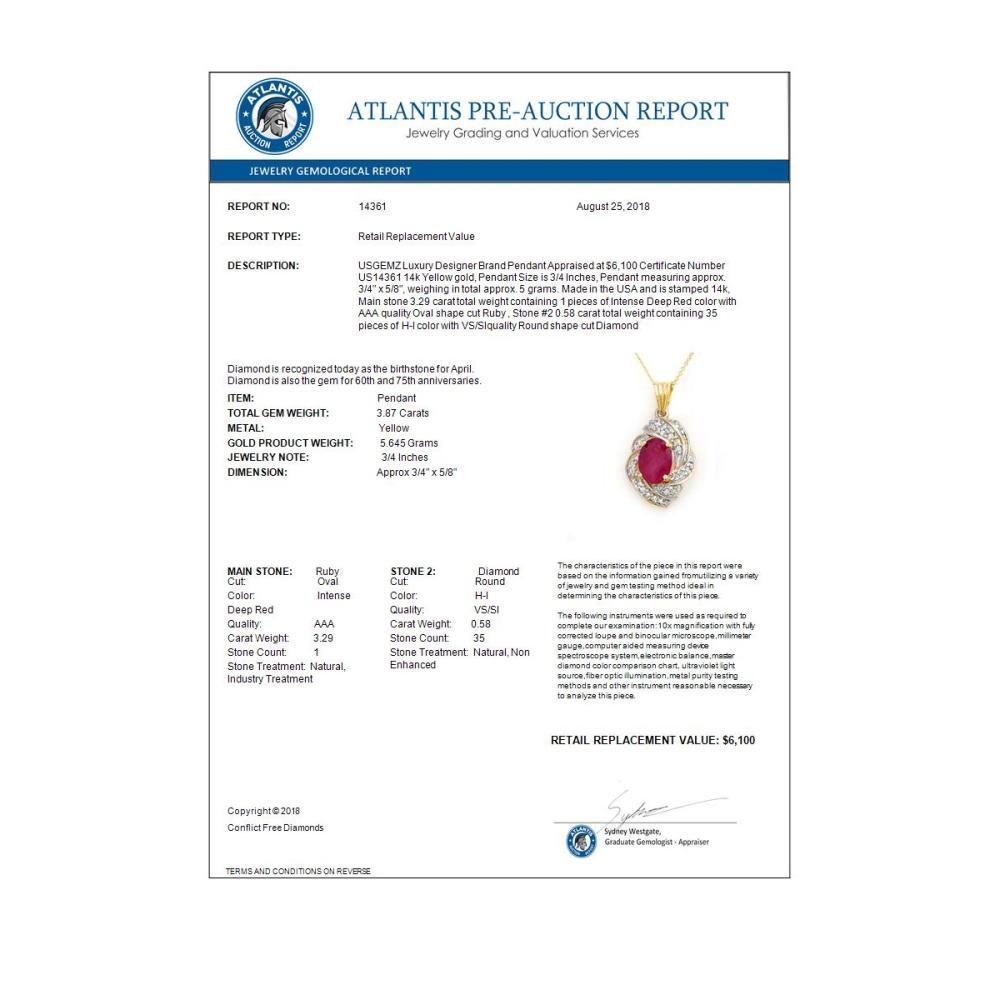 Lot 6575: 3.87 ctw Ruby & Diamond Pendant 14K Yellow Gold - REF-85V5Y - SKU:14361