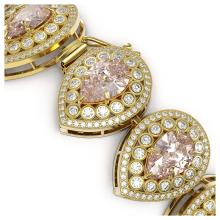 Lot 7056: 47.64 ctw Morganite & Diamond Bracelet 14K Yellow Gold - REF-2044R4K - SKU:43279