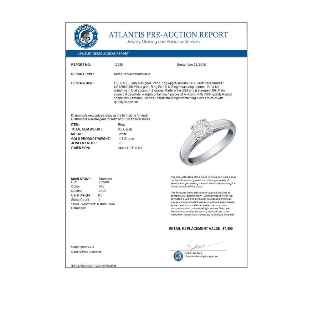 Lot 6583: 0.60 ctw VS/SI Diamond Solitaire Ring 18K White Gold - REF-158R7K - SKU:12060