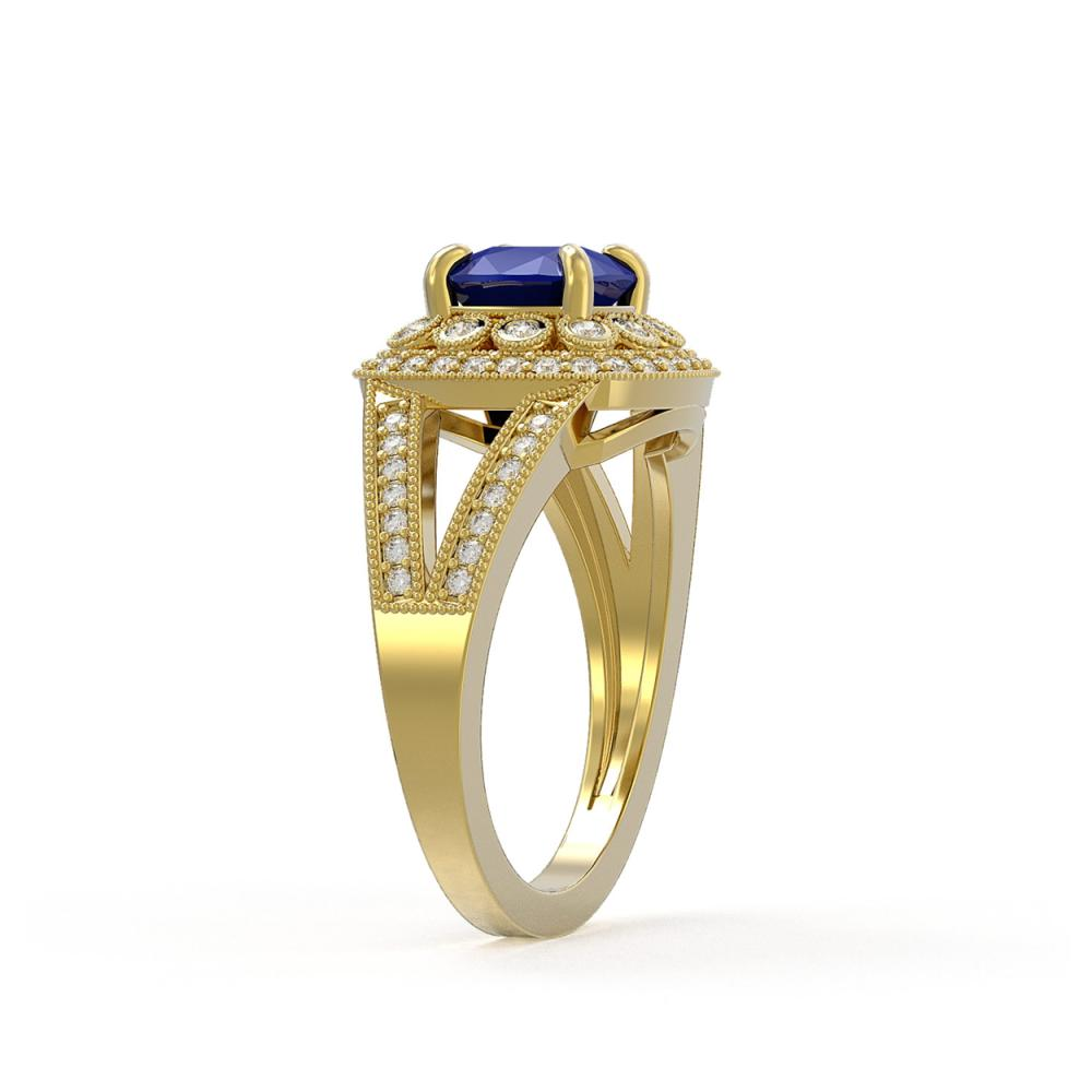 Lot 7089: 2.69 ctw Sapphire & Diamond Ring 14K Yellow Gold - REF-99A3V - SKU:44032