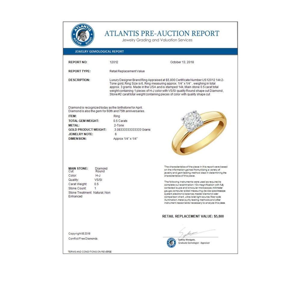 Lot 6606: 0.50 ctw VS/SI Diamond Ring 14K 2-Tone Gold - REF-108F3N - SKU:12012