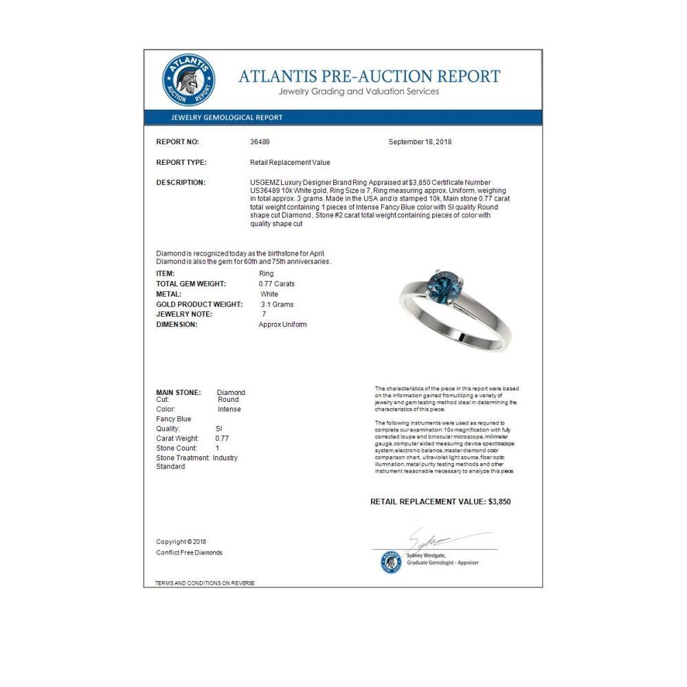 Lot 6807: 0.77 ctw Intense Blue Diamond Ring 10K White Gold - REF-70H5M - SKU:36489