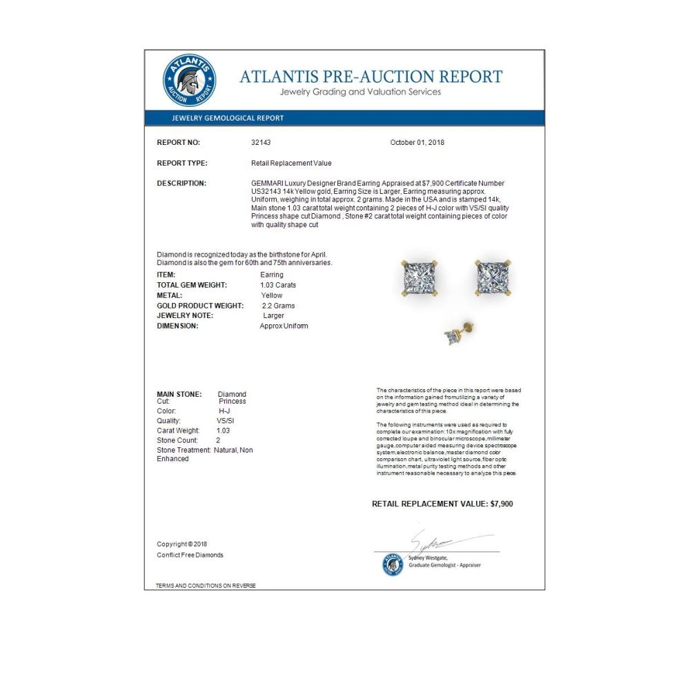 Lot 6816: 1.03 ctw VS/SI Princess Cut Diamond Earrings 14K Yellow Gold - REF-148A5V - SKU:32143