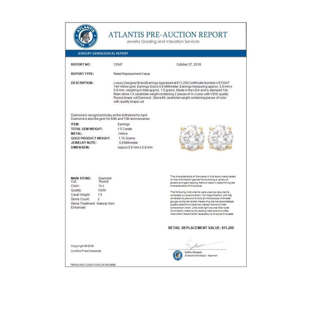Lot 6825: 1.50 ctw VS/SI Diamond Stud Earrings 14K Yellow Gold - REF-240N2A - SKU:13047
