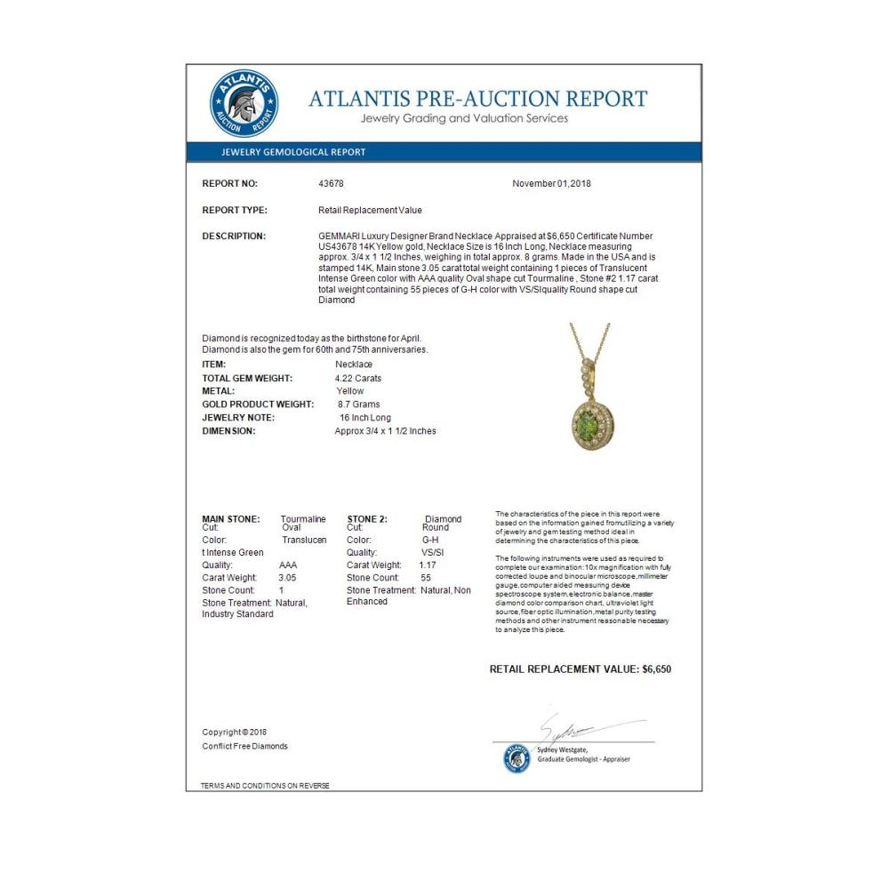 Lot 6879: 4.22 ctw Tourmaline & Diamond Necklace 14K Yellow Gold - REF-134Y2X - SKU:43678