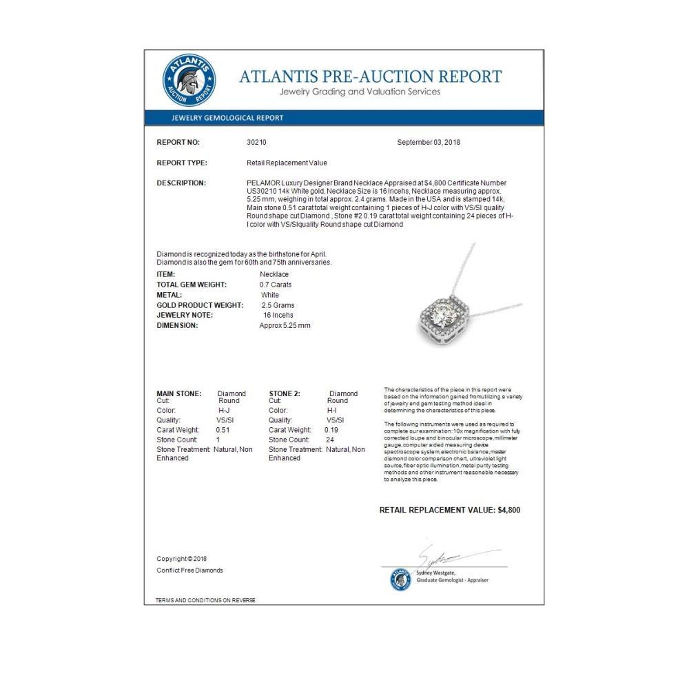 Lot 6936: 0.70 ctw SI Diamond Halo Necklace 14K White Gold - REF-96V5Y - SKU:30210