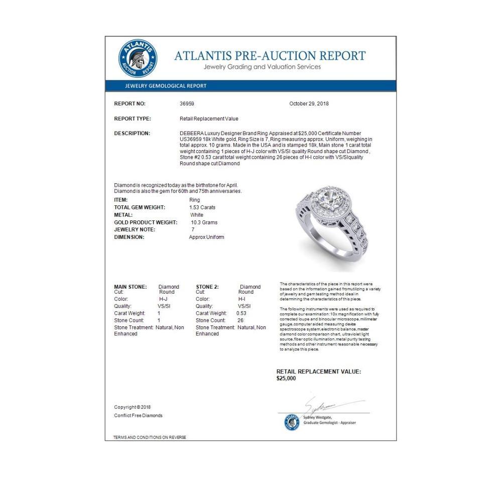 Lot 7000: 1.53 ctw VS/SI Diamond Art Deco Ring 18K White Gold - REF-454M5F - SKU:36959