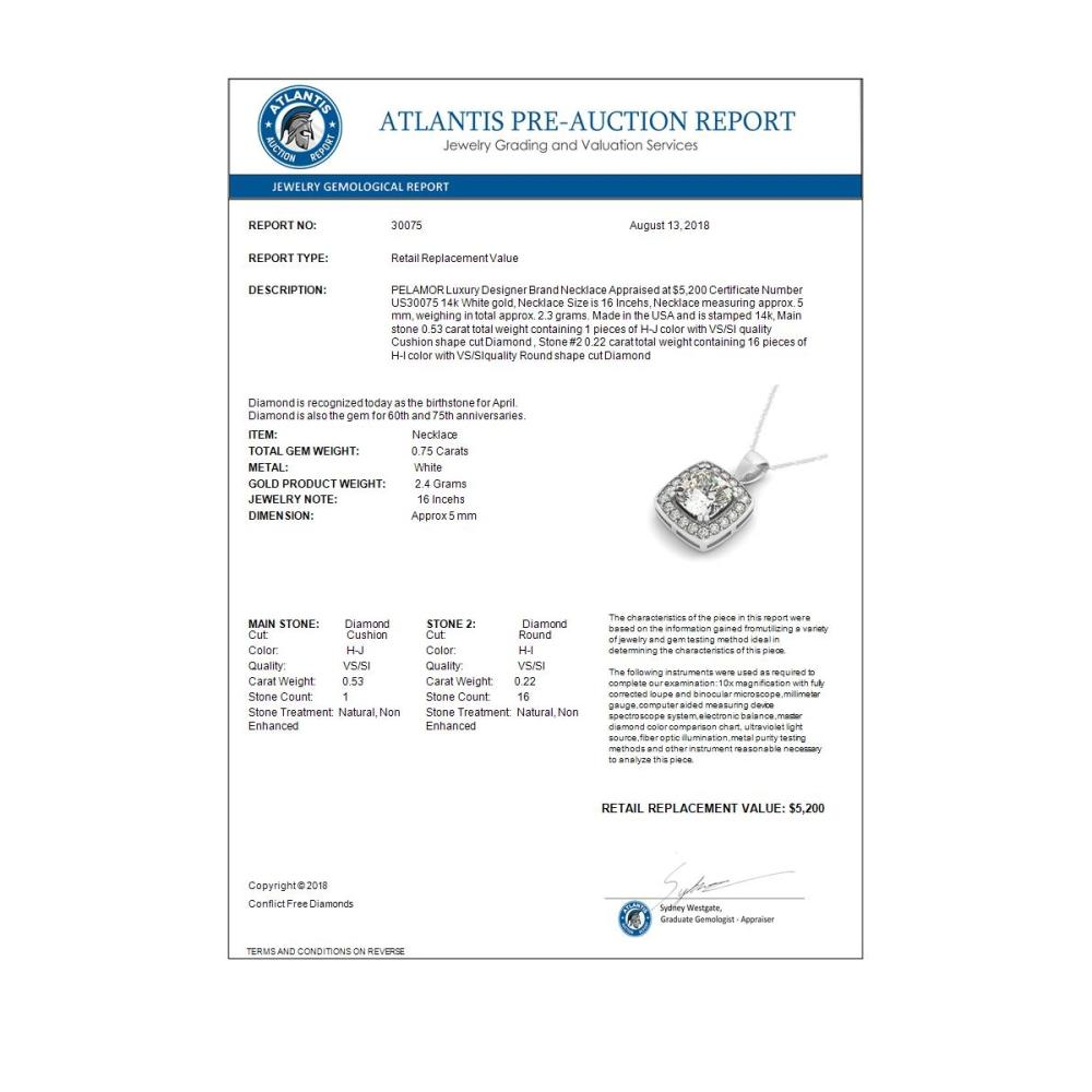 Lot 7083: 0.75 ctw VS/SI Cushion Cut Diamond Necklace 14K White Gold - REF-117A8V - SKU:30075
