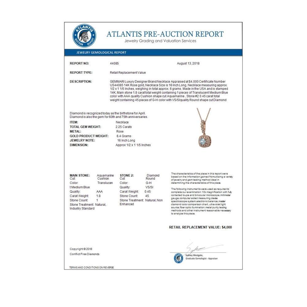 Lot 7087: 2.25 ctw Aquamarine & Diamond Necklace 14K Rose Gold - REF-81K3W - SKU:44085