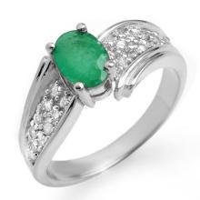 1.43 ctw Emerald & Diamond Ring 18K White Gold - REF#-67W3G - 13381