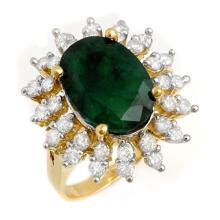 6.45 ctw Emerald & Diamond Ring 14K Yellow Gold - REF#-116H5M - 13288