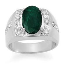 4.58 ctw Emerald & Diamond Men's Ring 10K White Gold - REF#-73X8T - 14485