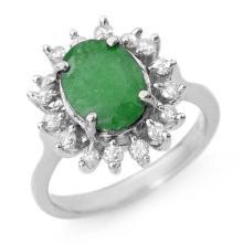 3.10 ctw Emerald & Diamond Ring 18K White Gold - REF#-71H5M - 12685