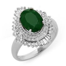 2.58 ctw Emerald & Diamond Ring 18K White Gold - REF#-69G6N - 13400