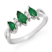 0.57 ctw Emerald & Diamond Ring 18K White Gold - REF#-29G3N - 12748