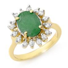 3.10 ctw Emerald & Diamond Ring 10K Yellow Gold - REF#-70H2M - 12684