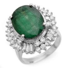 11.75 ctw Emerald & Diamond Ring 18K White Gold - REF#-205M3R - 14413