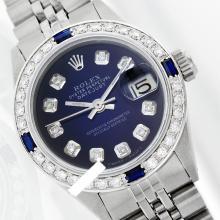 Rolex Men's Stainless Steel, QuickSet, Diam Dial & Diam/Sapphire Bezel - REF#425K5A
