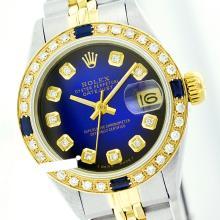 Rolex Men's 2Tone 14K Gold/ SS, QuickSet, Diam Dial & Diam/Sapphire Bezel - REF#458R2X