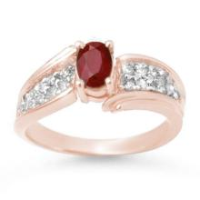 1.43 ctw Ruby & Diamond Ring 14K Rose Gold - REF#-51M6R-13343