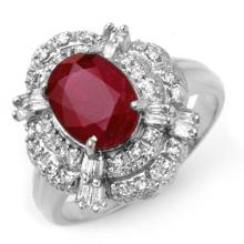 2.84 ctw Ruby & Diamond Ring 18K White Gold - REF#-90N9A-12950