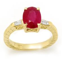 3.70 ctw Ruby & Diamond Ring 10K Yellow Gold - REF#-36F7V-11682