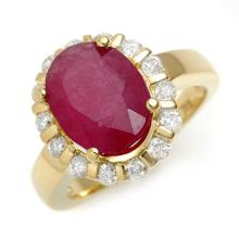 4.65 ctw Ruby & Diamond Ring 10K Yellow Gold - REF#-75R8H-11260