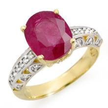 4.83 ctw Ruby & Diamond Ring 10K Yellow Gold - REF#-50M5F-14418