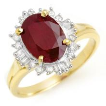 3.66 ctw Ruby & Diamond Ring 14K Yellow Gold - REF#-62R2H-13688