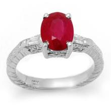 3.70 ctw Ruby & Diamond Ring 14K White Gold - REF#-63G8N-11683