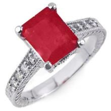 2.35 ctw Rubellite & Diamond Ring 14K White Gold - REF#-71M3R-14197
