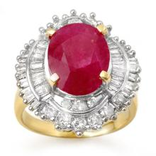 6.15 ctw Ruby & Diamond Ring 14K Yellow Gold - REF#-158X5T-13129