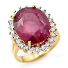 12.0 ctw Ruby & Diamond Ring 14K Yellow Gold - REF#-111R3H-13153