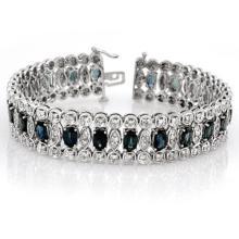 18.50 ctw Blue Sapphire & Diamond Bracelet 18K White  Gold - REF#-573T6K-14621