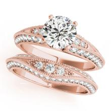 1.76 CTW Certified VS/SI Diamond Solitaire 2pc Wedding Set Antique Gold - REF#-237T6K-31446