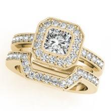 1.05 CTW Certified VS/SI Cushion Diamond 2pc Set Solitaire Halo 14K Gold - REF#-176H2M-31381