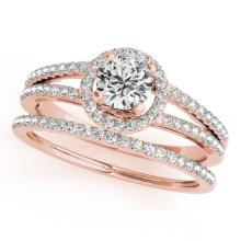 1.1 CTW Certified VS/SI Diamond 2pc Wedding Set Solitaire Halo 14K Gold - REF#-199T6K-31077
