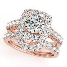 3.23 CTW Certified VS/SI Diamond 2pc Wedding Set Solitaire Halo 14K Gold - REF#-306G2N-30670