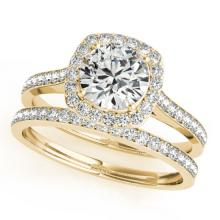 1.92 CTW Certified VS/SI Diamond 2pc Wedding Set Solitaire Halo 14K Gold - REF#-510A2X-31219