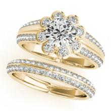 1.86 CTW Certified VS/SI Diamond 2pc Wedding Set Solitaire Halo 14K Gold - REF#-418H4M-31288