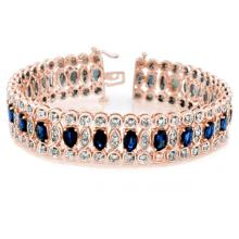 18.50 ctw Blue Sapphire & Diamond Bracelet 14K Rose  Gold - REF#-440W9G-11718