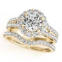 2.83 CTW Certified VS/SI Diamond 2pc Wedding Set Solitaire Halo 14K Gold - REF#-600X2T-31102