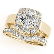 1.8 CTW Certified VS/SI Diamond 2pc Wedding Set Solitaire Halo 14K Gold - REF#-265T3K-31228