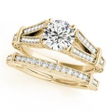 0.91 CTW Certified VS/SI Diamond Solitaire 2pc Wedding Set Antique Gold - REF#-148V5Y-31462