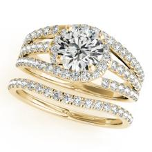 1.4 CTW Certified VS/SI Diamond Solitaire 2pc Wedding Set  14K Gold - REF#-226F4V-32011